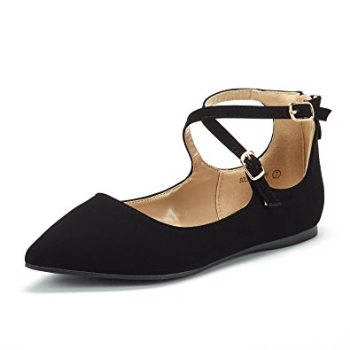 DREAM PAIR Women's Sole-Strappy Ankle Straps Flats Shoes